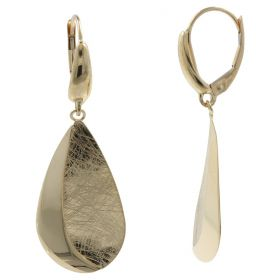 Drop earrings in polished and satin yellow gold