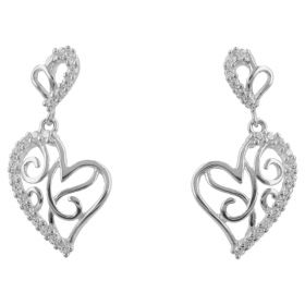 """Embroidered Heart"" earrings in 14kt gold"