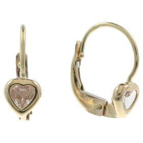 Little girl heart earrings with zircons in 14kt gold