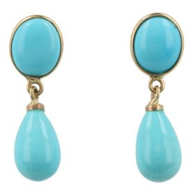 Yellow gold earrings with turquoise paste