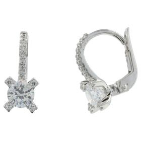 14kt white gold earrings with zircons | Gioiello Italiano