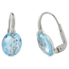 Earrings in 14kt white gold with blue topaz stones | Gioiello Italiano