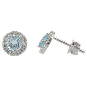 Round earrings in white gold with topaz and zircons