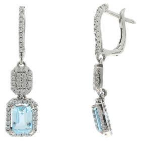 Pendant earrings in white gold, zircons and blue topaz