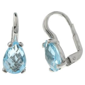 White gold earrings with teardrop topaz