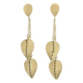 Drop earrings with 14kt yellow gold leaves