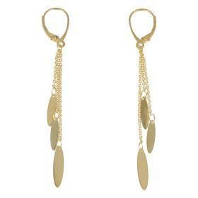 Pendant earrings with three threads in 14kt yellow gold