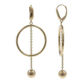 Orecchini con cerchio e pendente in oro giallo 14kt | Gioiello Italiano