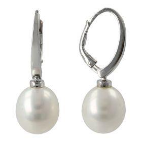 Orecchini in oro bianco con perle naturali ovali | Gioiello Italiano