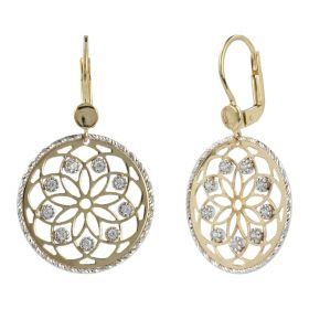 Yellow gold earrings with cubic zirconia and white gold outline | Gioiello Italiano