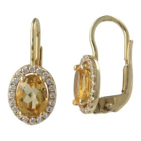 Yellow gold earrings with citrine quartz and zircons | Gioiello Italiano