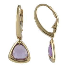 14kt yellow gold earrings with natural stones | Gioiello Italiano