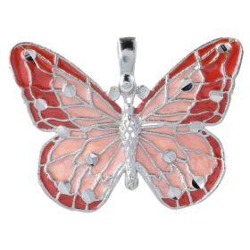 14kt white gold enamelled butterfly pendant