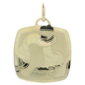 """Square """"Christening"""" pendant in yellow gold"""
