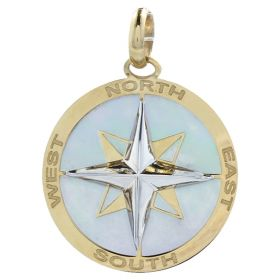 "Yellow and white gold ""Wind Rose"" round pendant 