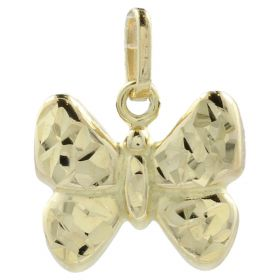 "Yellow gold ""Butterfly"" polished and diamond-cut pendant"