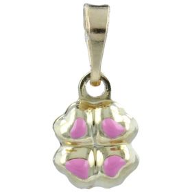 "Yellow gold ""Four-leaved clover"" pendant with enamel"