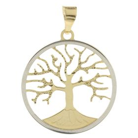 """Tree of Life"" round pendant in yellow and white gold"