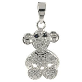 """""""Monkey"""" pendant in white gold and zircons"""
