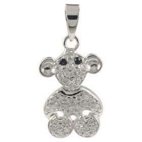"""Monkey"" pendant in white gold and zircons | Gioiello Italiano"