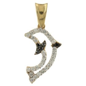 """Dolphin"" pendant in gold and white and black zircons"