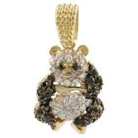 "Gold ""Panda Bear"" pendant with white and black zircons"