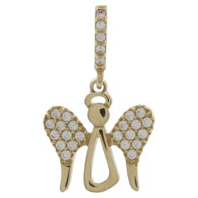 Yellow gold angel pendant with zircons | Gioiello Italiano