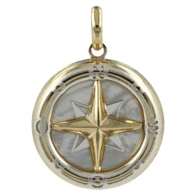 Wind Rose pendant in yellow and white gold with mother of pearl