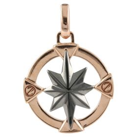 Men's Wind Rose Pendant in rose and burnished gold