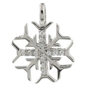 """""""Snowflake"""" pendant in white gold with zircons"""