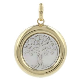 """Tree of Life"" pendant in yellow and white gold with mother of pearl"
