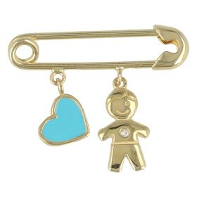 Yellow gold safety pin with baby boy and enameled heart
