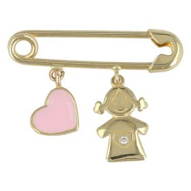 Yellow gold safety pin with baby girl and enameled heart