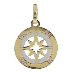 """Wind Rose"" pendant in yellow and white satin gold"