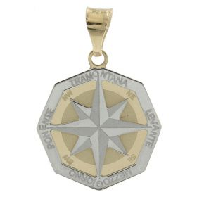"Octagonal ""Wind Rose"" pendant in white and yellow gold"
