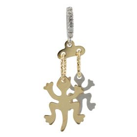 Pendant with two geckos in 14kt yellow and white gold