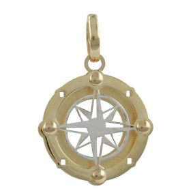 "Double ""Wind Rose"" pendant in 14kt yellow and white gold"