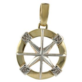 """Wind Rose"" round pendant in yellow and white gold"