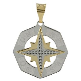 "Flat ""Wind Rose"" pendant in 14kt white and yellow gold"