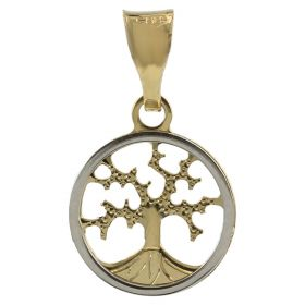 """Tree of Life"" mini pendant in yellow and white gold"