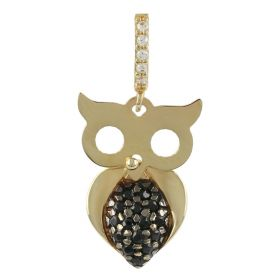 Yellow gold owl pendant with black and white zircons | Gioiello Italiano