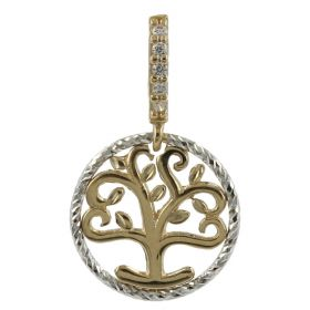 """Tree of Life"" pendant in yellow and white gold 14kt with zircons"
