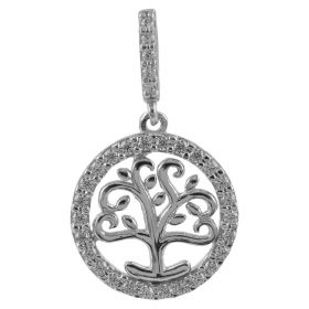 """Tree of Life"" pendant in white gold and zircons"