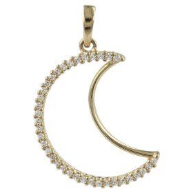 """Moon"" pendant in 14kt gold and zircons | Gioiello Italiano"