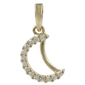 """Mini Moon"" pendant in 14kt gold and zircons"