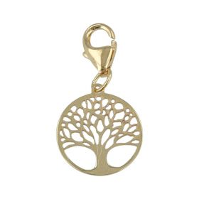 """Charm """"Tree of Life"""" in yellow gold with carabiner"""