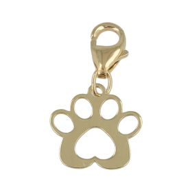 """Charm """"Paw"""" in yellow gold 14kt with snap hook"""