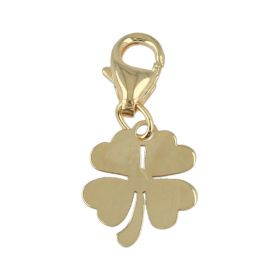 """Charm """"Four-Leaf Clover"""" in 14kt yellow gold with snap hook"""