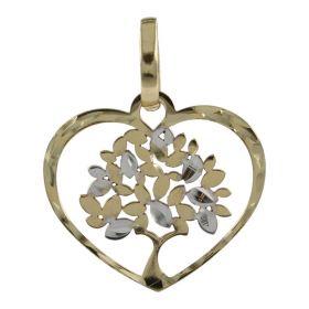 Pendente a cuore con albero della vita in oro giallo e bianco | Gioiello Italiano
