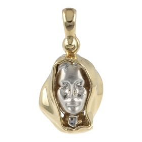 Virgin Mary pendant in white and yellow gold 14kt | Gioiello Italiano